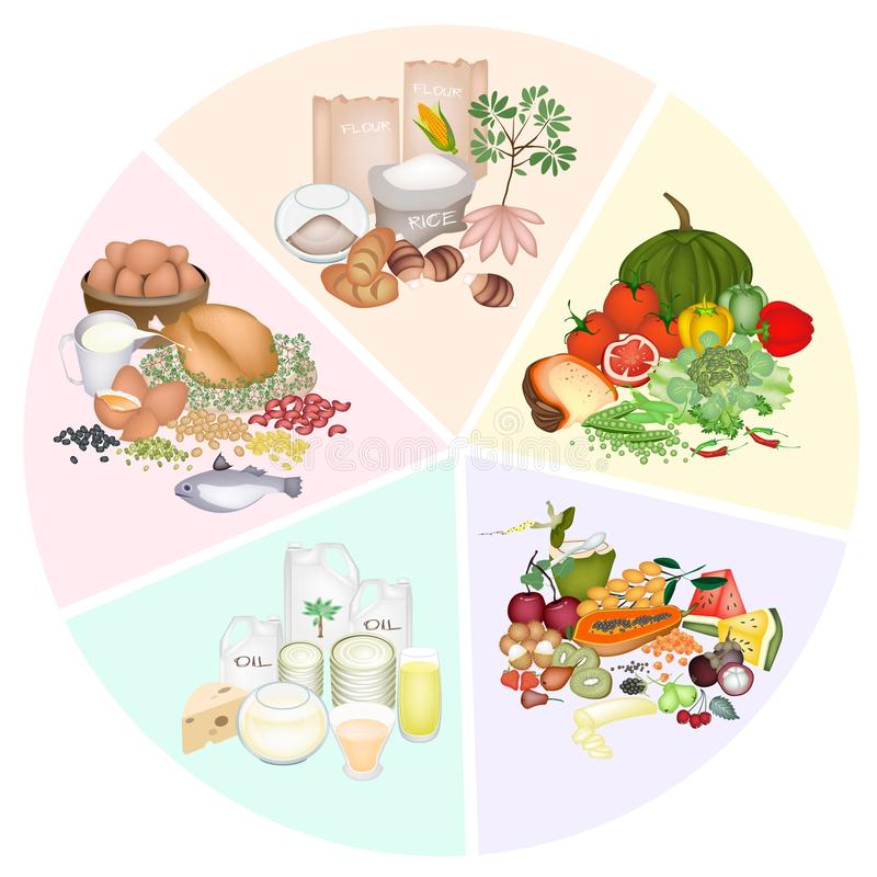 Преимущества здоровья и питания 5 главным образом групп продуктов иллюстрация штока