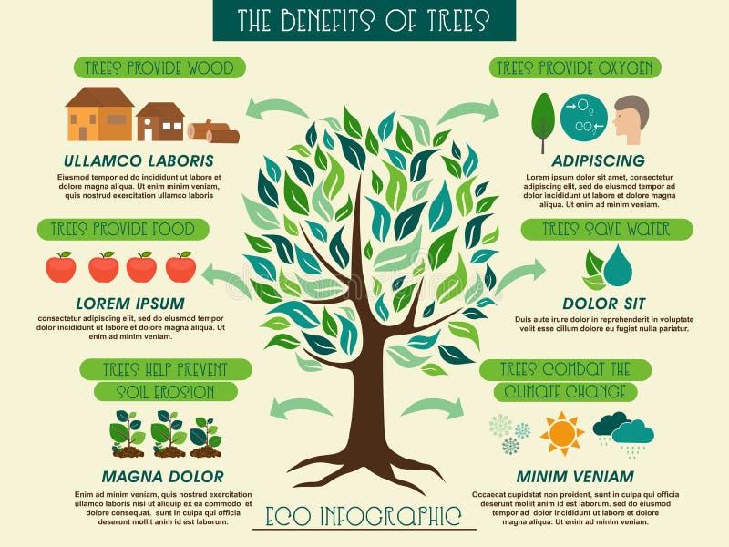 Преимущества Eco infographic показывая деревьев иллюстрация штока