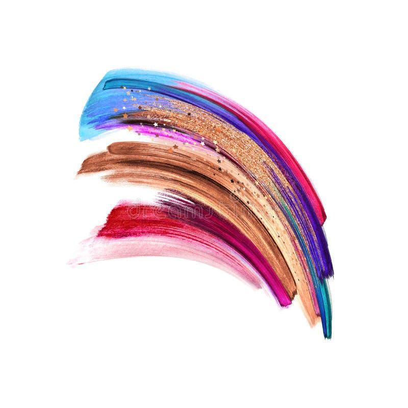 Прекрасная абстрактная форма, мазки кистей, изолированные на белом фоне, красочные мазки, изображение с акварельными цветами, мак иллюстрация вектора