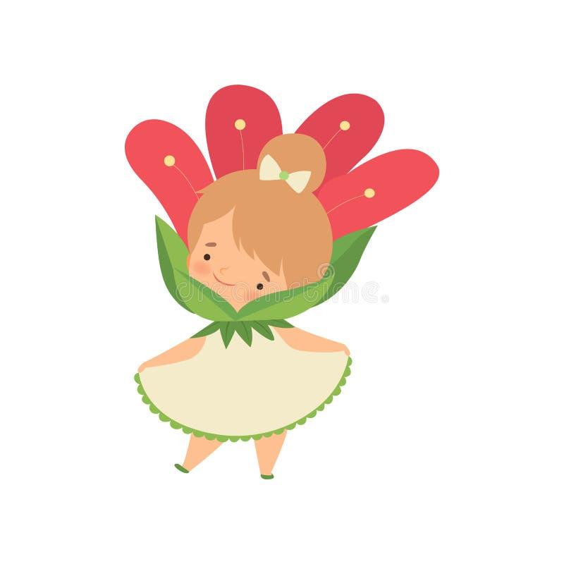 Прекрасная маленькая девочка нося красный костюм цветка, прелестный персонаж из мультфильма ребенк в масленице одевает иллюстраци иллюстрация вектора
