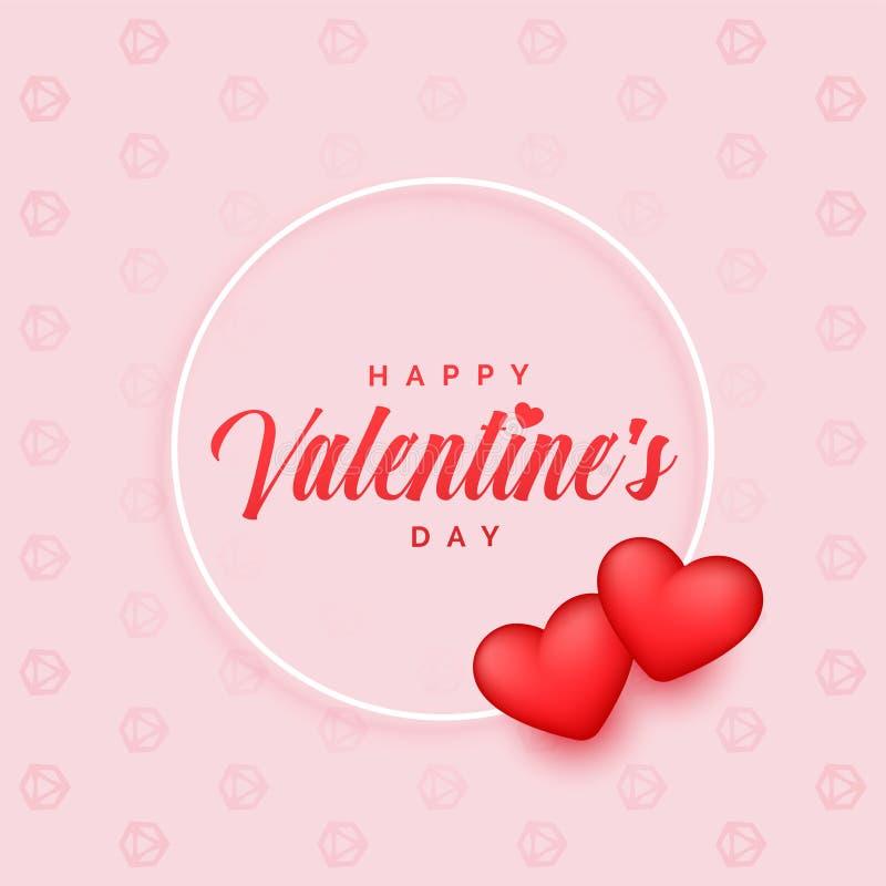 Прекрасная предпосылка дня Святого Валентина с 2 сердцами 3d иллюстрация вектора