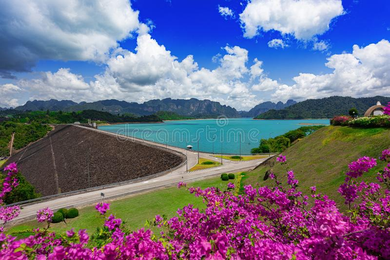 Прекрасное голубое небо с цветком и чистой водой, плотина Ратчапрапа или Гийин из Таиланда, знаменитый Национальный парк в Суратт стоковые изображения rf