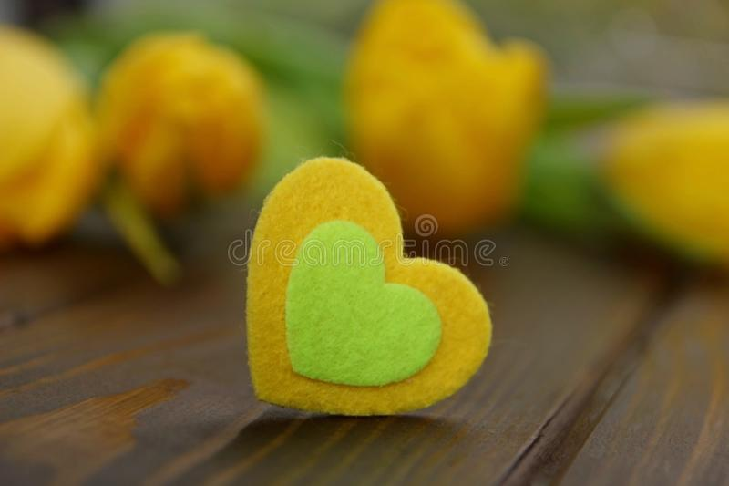 Прекрасное желтое сердце с романтичными красочными тюльпанами скачет украшение цветков стоковое фото rf