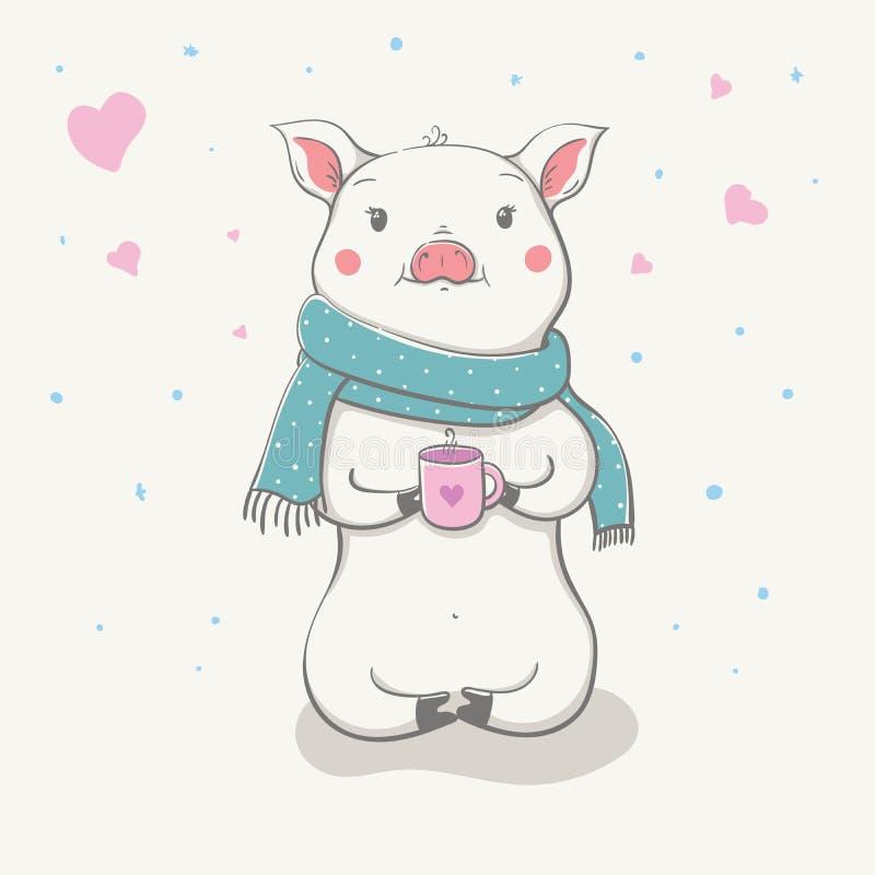 Прекрасное милое жизнерадостное piggy сидит в смешном шарфе с чашкой с сердцем в руках Карточка с животным шаржа иллюстрация вектора