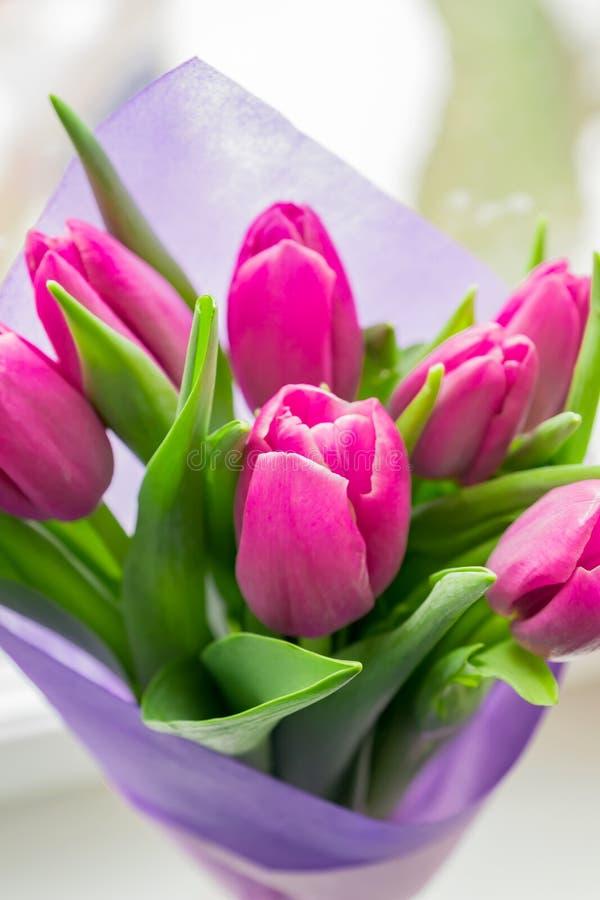 Прекрасный весенний букет розовых тюльпанов. Закрыть, мягкая фокусироРстоковые фото