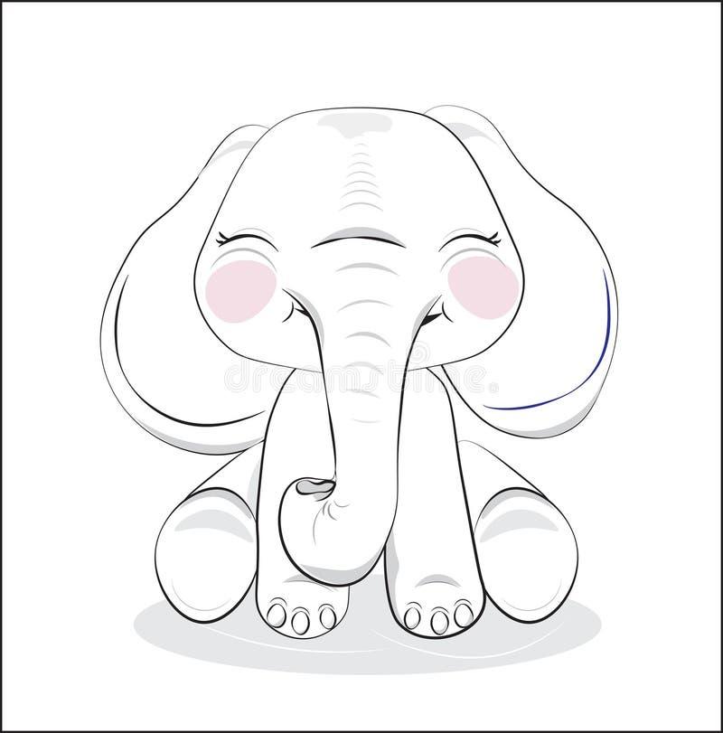 Прекрасный вычерченный слон младенца бесплатная иллюстрация