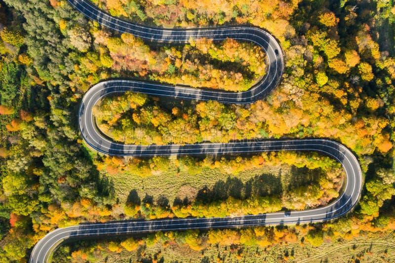 Прекрасный ландшафт горной лесной дороги Вид с воздуха на извилистую дорогу в прекрасном осеннем лесу стоковые фото