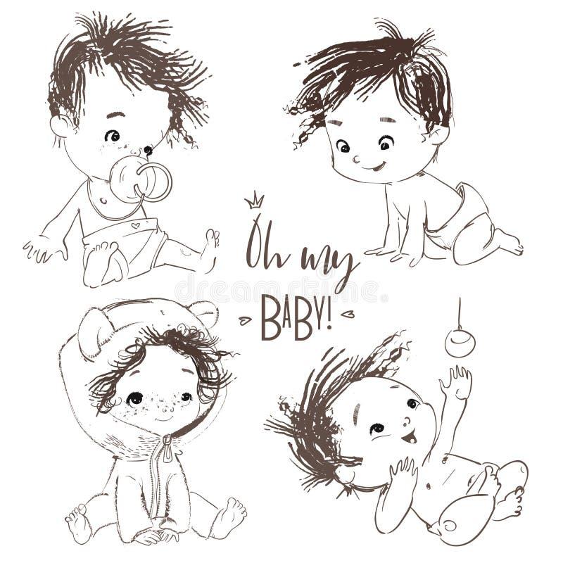 Прекрасный набор с ребенком мультфильма маленьким иллюстрация вектора