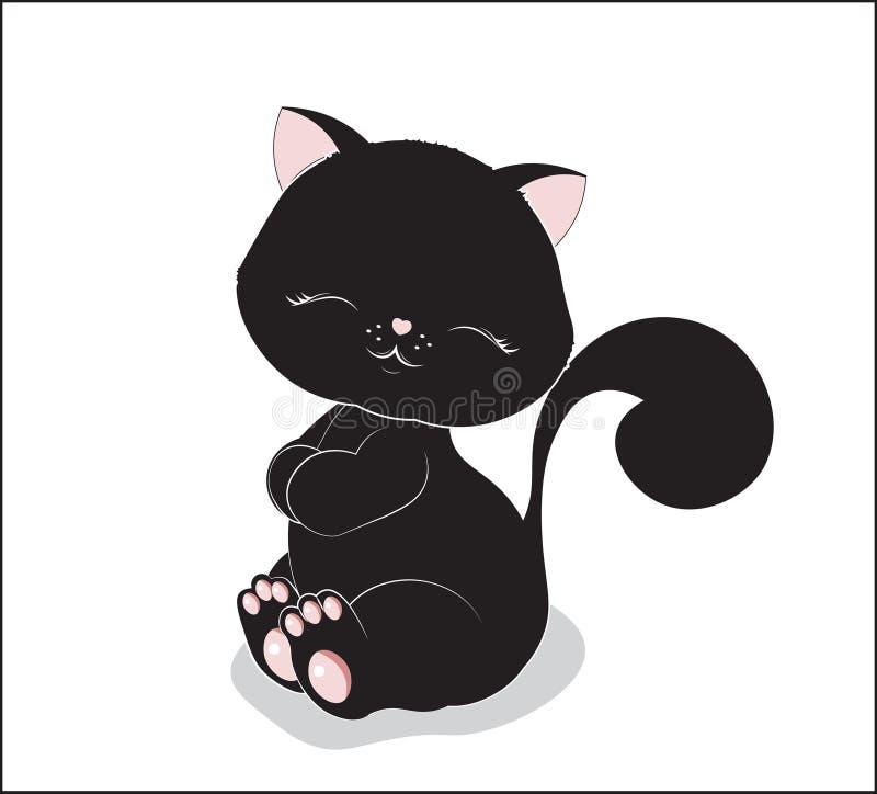 Прекрасный черный кот иллюстрация вектора