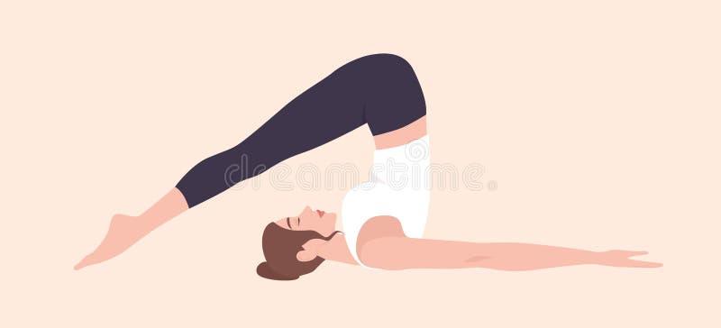 Прелестная женщина в положении Halasana или представлении плуга Смешной женский персонаж из мультфильма практикуя йогу Hatha Моло бесплатная иллюстрация