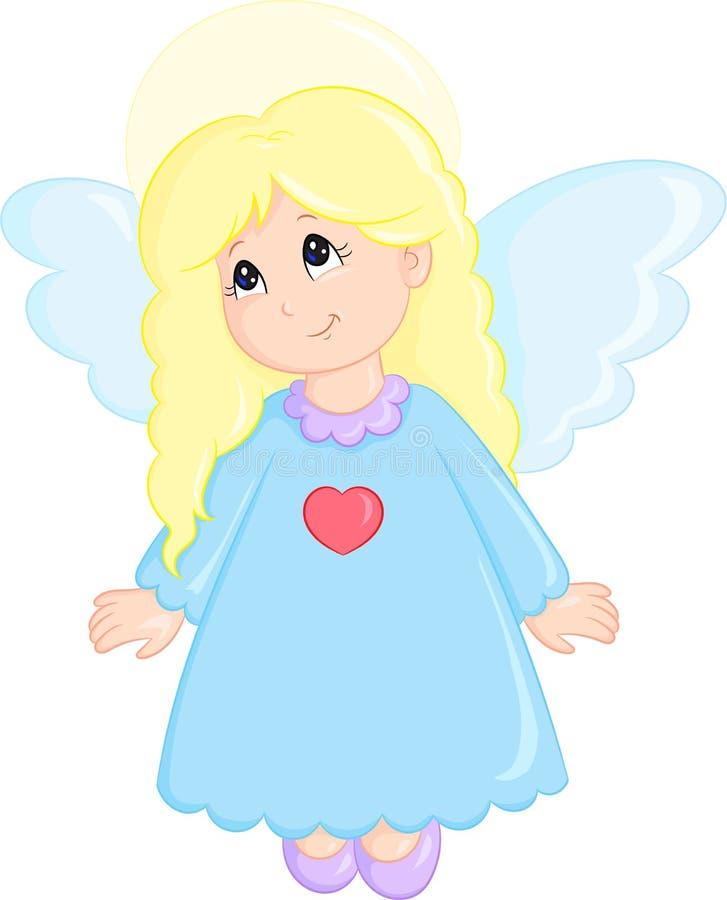 прелестная иллюстрация довольно маленького ангела, одетая в милом маленьком платье, в цвете, улучшает для книги детей иллюстрация вектора