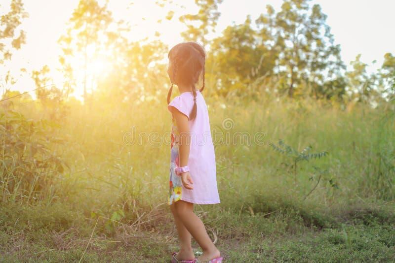 Прелестная маленькая девочка смеясь в луге - счастливая девушка на заходе солнца стоковые фото