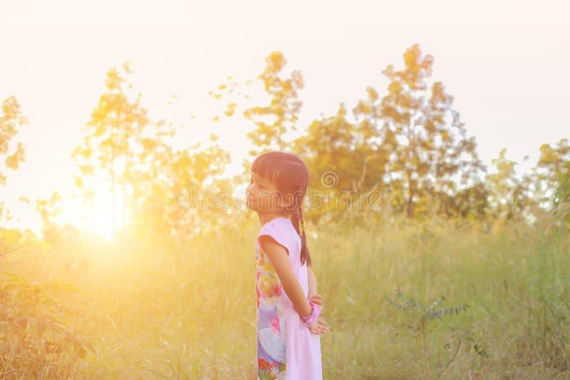 Прелестная маленькая девочка смеясь в луге - счастливая девушка на заходе солнца стоковые изображения