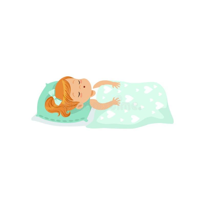 Прелестная маленькая девочка redhead спать на ее иллюстрации вектора персонажа из мультфильма кровати бесплатная иллюстрация