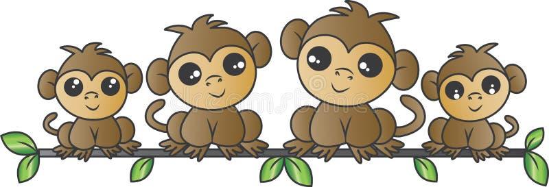 Прелестная семья обезьяны сидя на ветви иллюстрация вектора