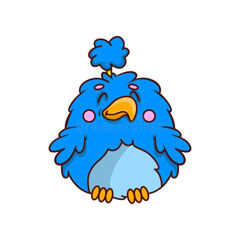 Прелестная тропическая птица с голубыми пушистыми пер Небольшая экзотическая тварь персонаж из мультфильма смешной вектор техника бесплатная иллюстрация