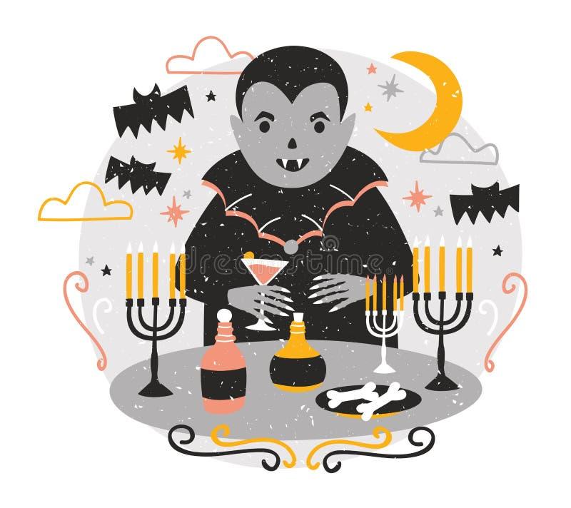Прелестное Дракула или смешное положение вампира на таблице со свечами в подсвечниках, выпивая кровью от рюмки и бесплатная иллюстрация