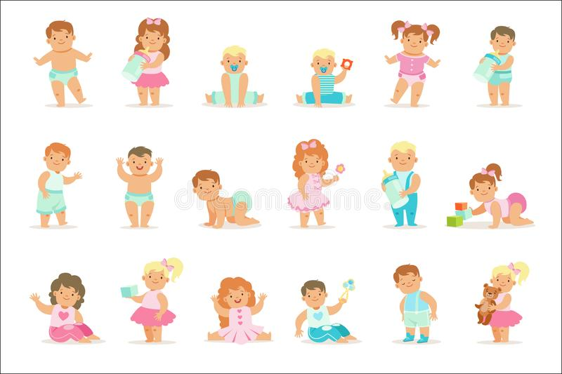 Прелестные усмехаясь младенцы и малыши в голубых и розовых обмундированиях делая первые шаги, вползая и играя установили  иллюстрация штока