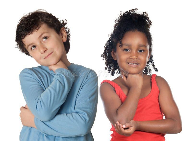прелестный думать детей стоковая фотография