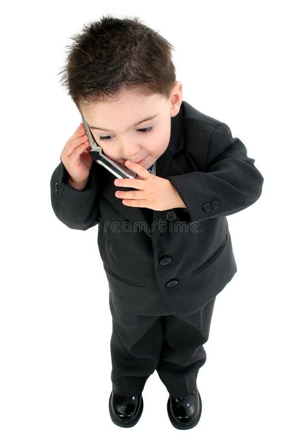 прелестный костюм мобильного телефона ребёнка стоковое изображение rf