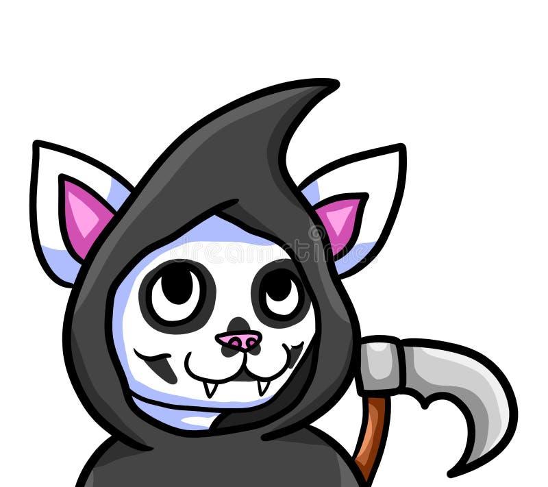 Прелестный кот мрачного жнеца иллюстрация штока