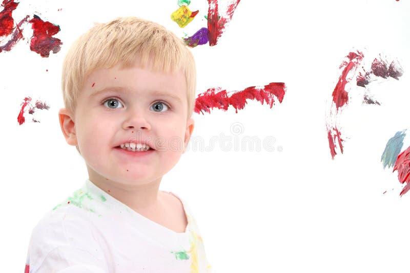 прелестный малыш картины мольберта мальчика Стоковые Фотографии RF