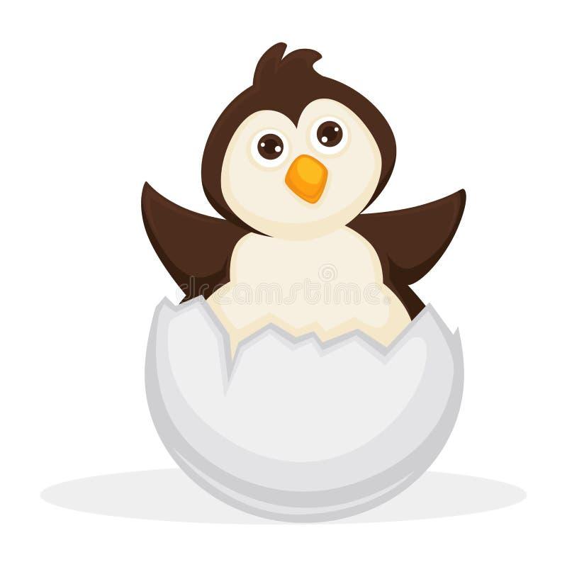 Прелестный пингвин младенца сидит в треснутой раковине яичка иллюстрация вектора