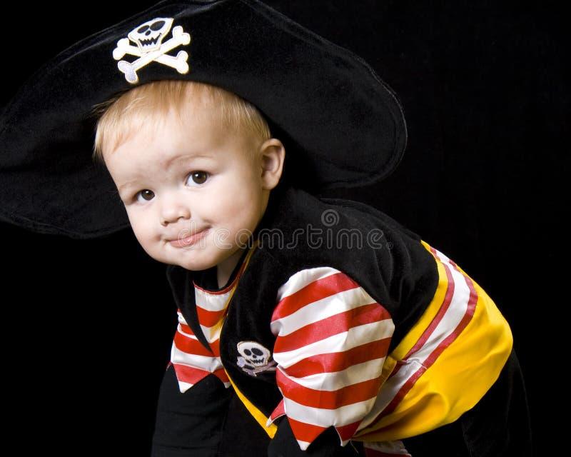 прелестный пират costume младенца стоковая фотография rf
