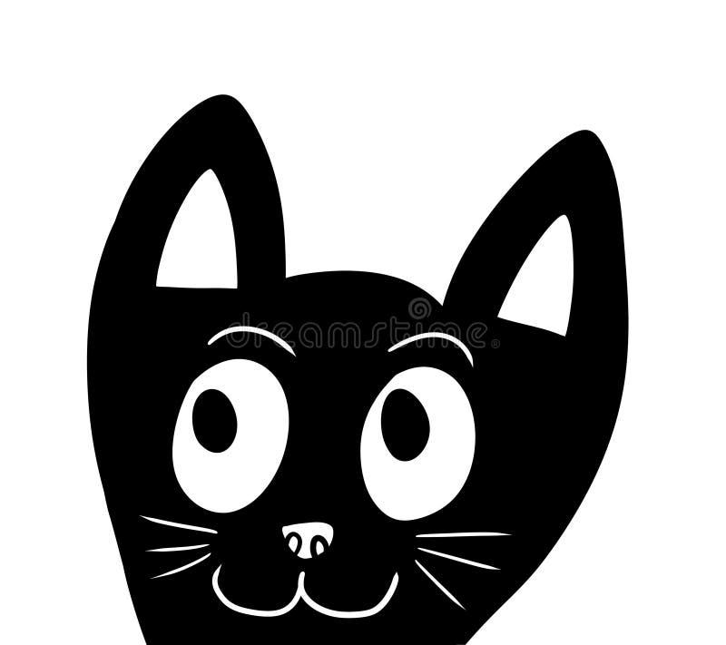 Прелестный стилизованный Doodle черного кота иллюстрация вектора