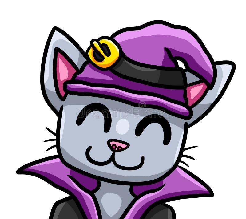 Прелестный счастливый серый кот ведьмы бесплатная иллюстрация