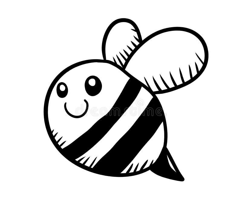 Прелестный черно-белый Doodle пчелы иллюстрация вектора
