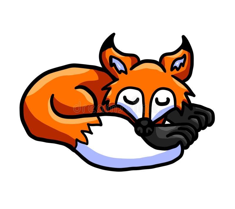 Прелестный Fox спать иллюстрация вектора