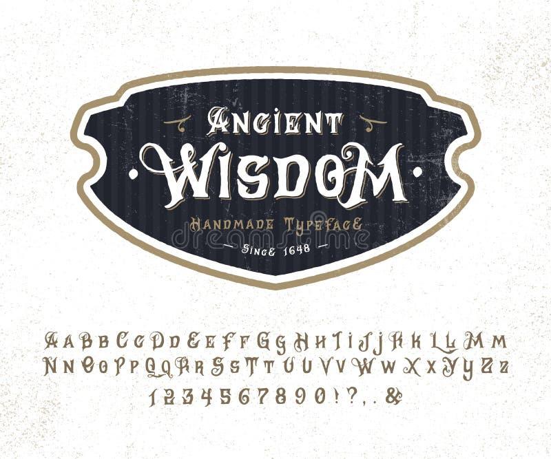 Премудрость шрифта старая иллюстрация штока