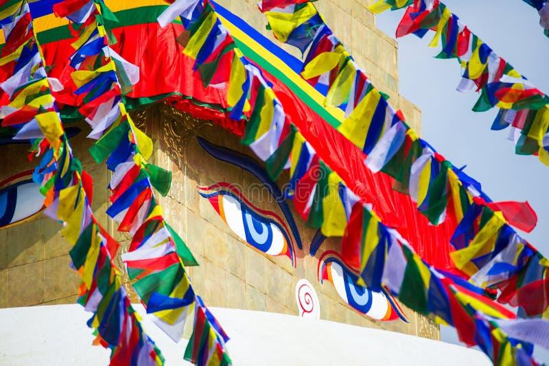 Премудрость наблюдает на stupa Boudhanath стоковое фото