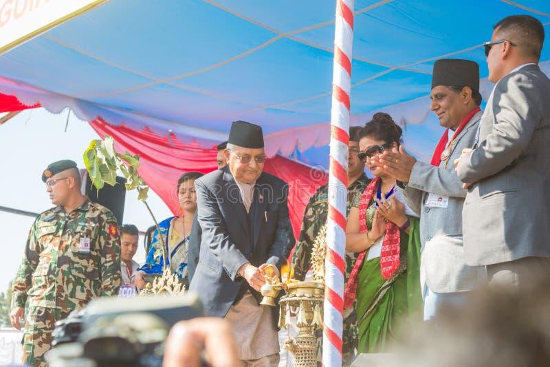 Премьер-министр г-н ` s Непала KP Sharma Oli принимая участие на событии 2018 мировых рекордов Гиннесса стоковые фотографии rf