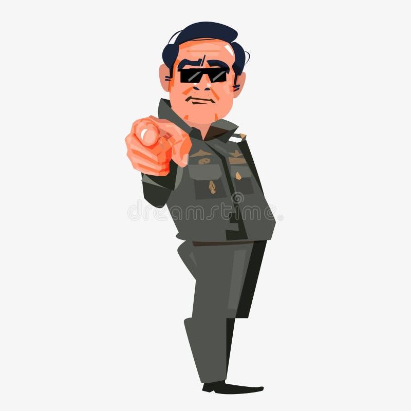 Премьер-министр Таиланда Prayut chan-o-cha указывать палец t иллюстрация вектора