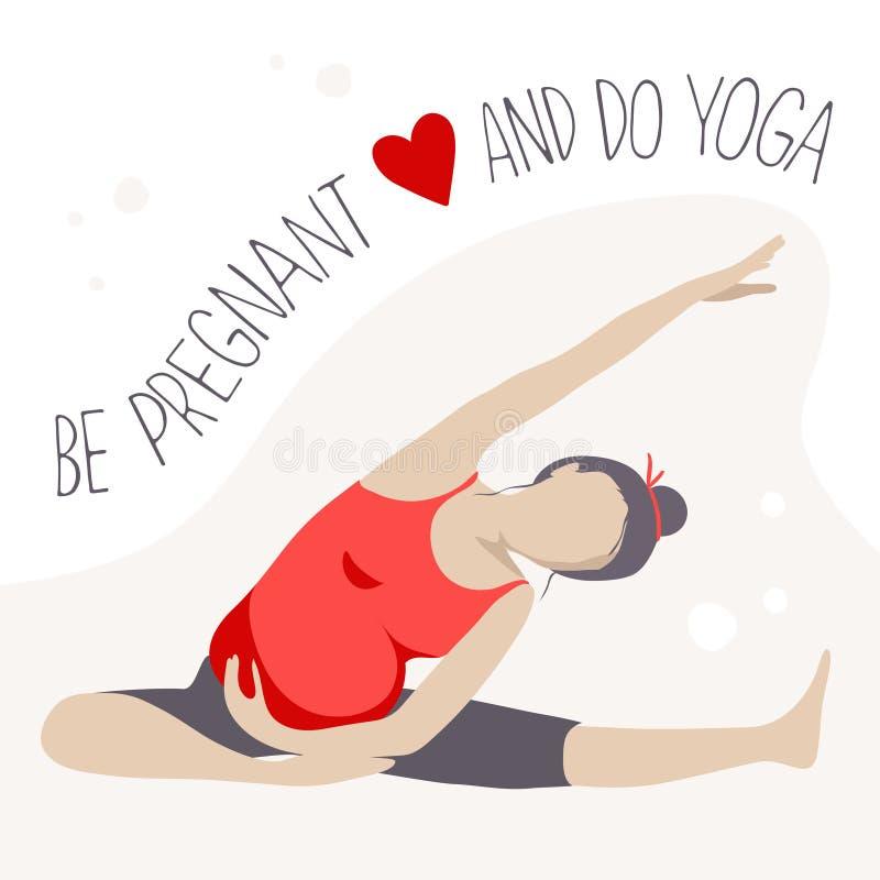 Пренатальная йога делать беременную женщину тренировки иллюстрация вектора