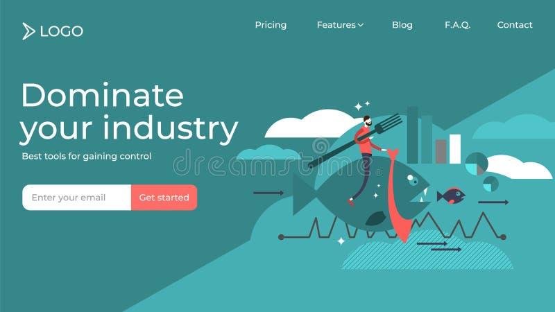 Преобладайте ваши продажи иллюстрации вектора индустрии плоские приземляясь дизайн шаблона страницы бесплатная иллюстрация