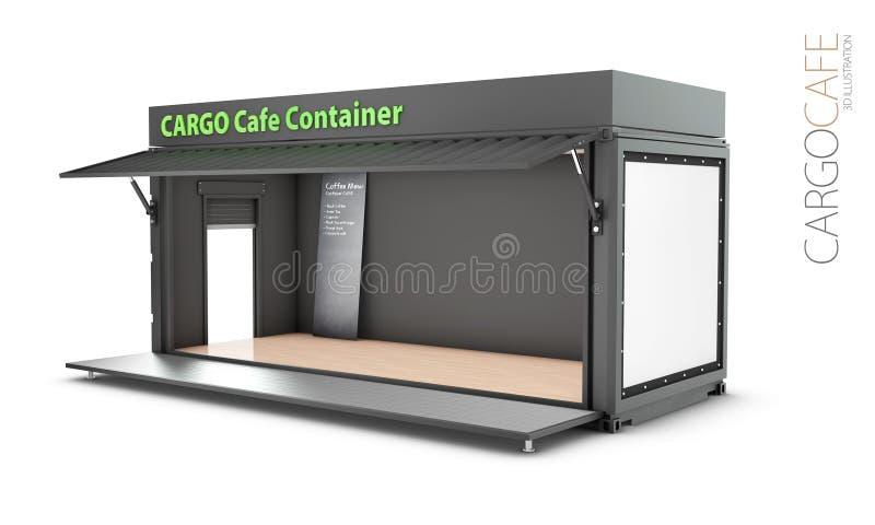 Преобразованный старый контейнер для перевозок в кафе, иллюстрацию 3d изолировал белизну иллюстрация штока