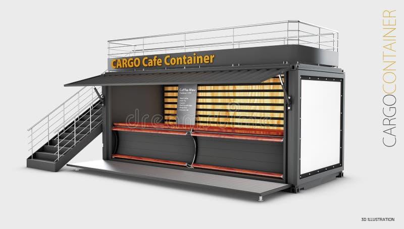 Преобразованный старый контейнер для перевозок в кафе, иллюстрацию 3d изолировал серый цвет иллюстрация штока