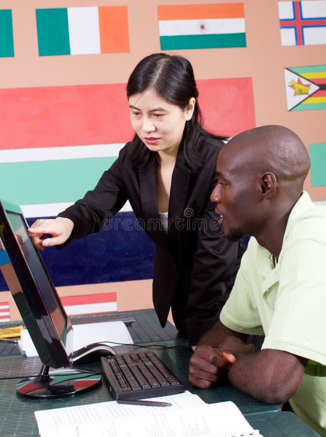преподавательство урока компьютера стоковые изображения