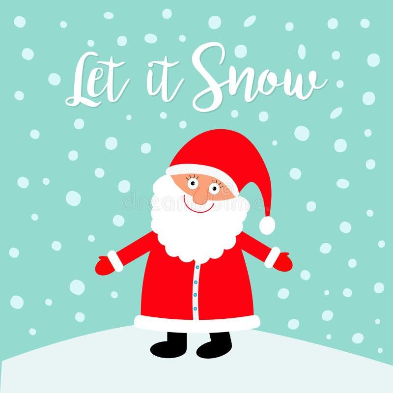 препятствуйте снежку Санта Клаус нося красную шляпу, костюм, большую бороду Характер милого kawaii шаржа смешной с открытой рукой иллюстрация штока