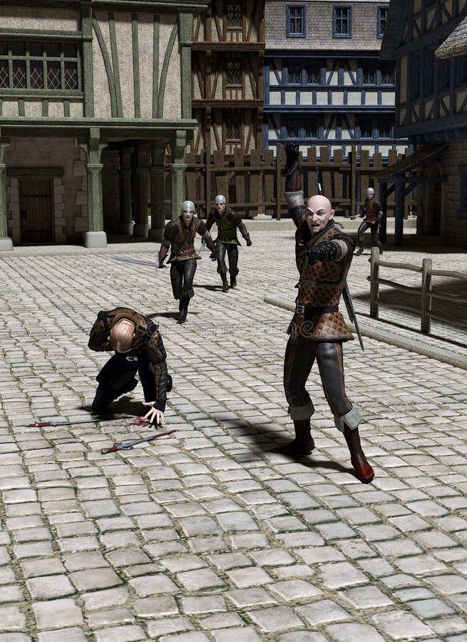 Преследование через средневековую улицу иллюстрация штока