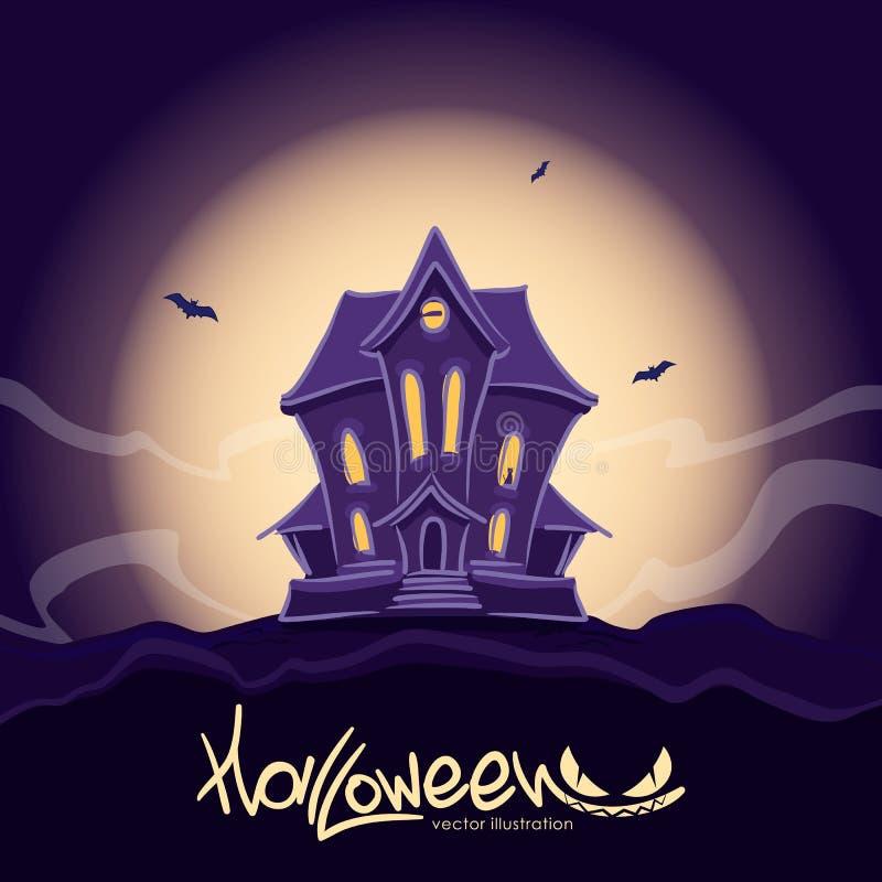 Преследовать дом ведьмы на ноче хеллоуина с черным котом в окне иллюстрация штока