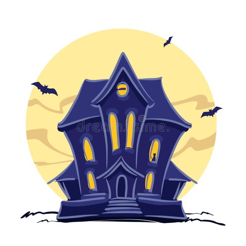 Преследовать дом ведьмы с котом в литерности окна и руки хеллоуина изолировал на предпосылке полнолуния бесплатная иллюстрация