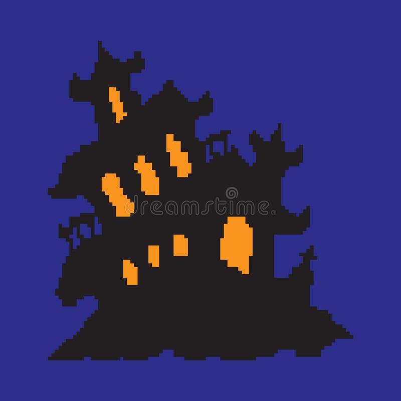 Преследовать дом, дом покрашенный в пикселах, хеллоуин ужаса стоковая фотография