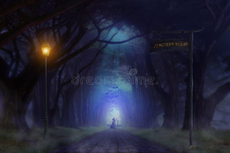 Преследовать кладбище леса при призрак стоя перед им держа оружие в руке иллюстрация штока