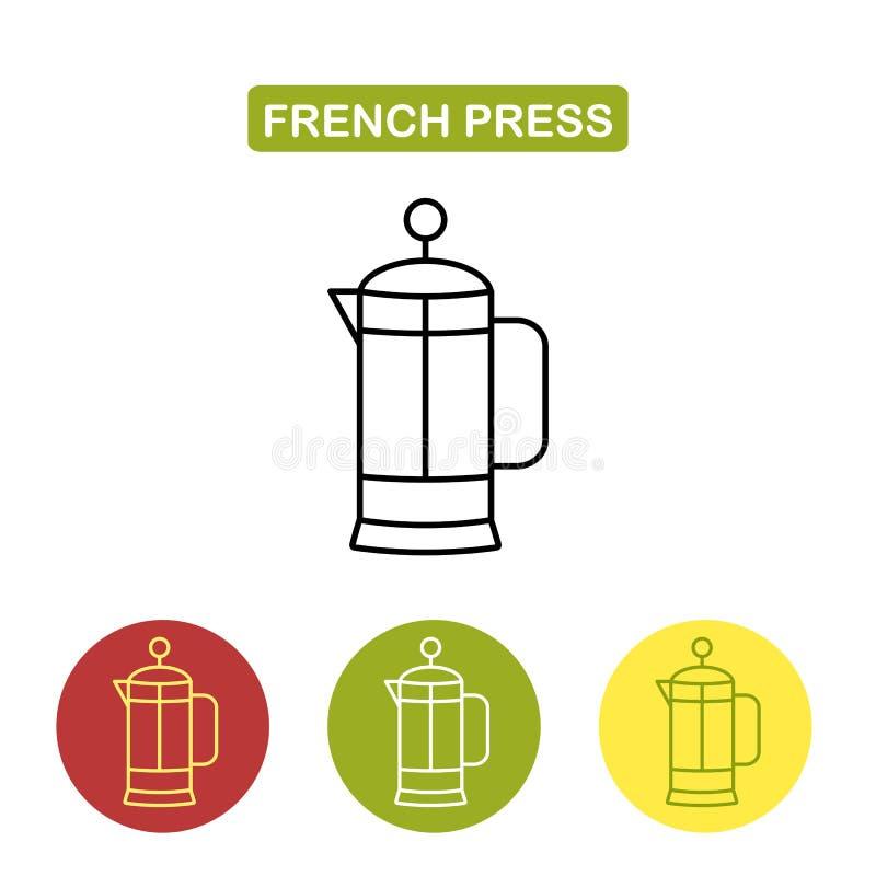 Пресса француза для кофе или чая Стеклянный чайник, современный minimalistic линейный значок иллюстрация штока