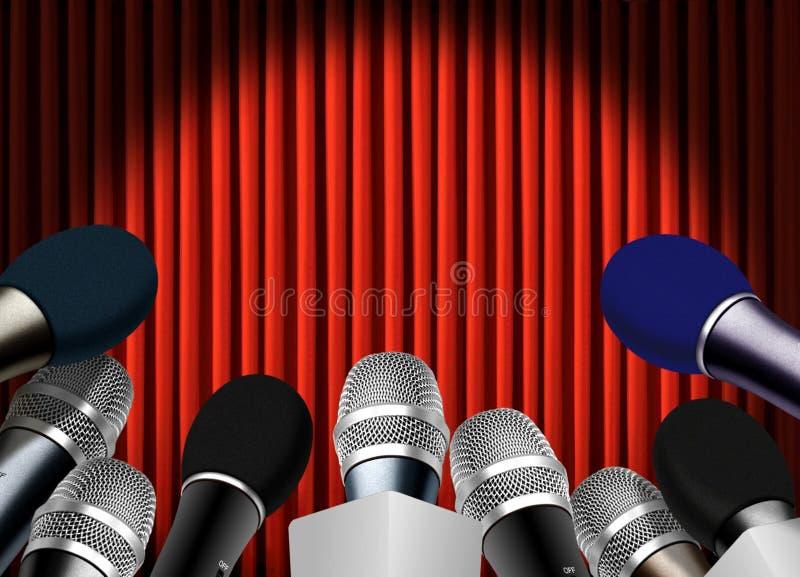 Пресс-конференция с микрофоном бесплатная иллюстрация