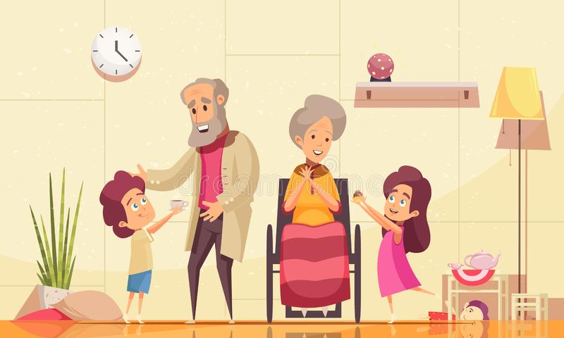 Престарелая помощь семьи иллюстрация штока